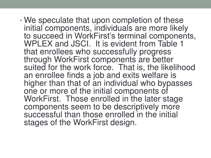 We speculate that upon completion of these initial components, individuals are more likely to succeed in WorkFirst's terminal components, WPLEX and JSCI.  It is evident from Table 1 that enrollees who successfully progress through WorkFirst components are better suited for the work force.  That is, the likelihood an enrollee finds a job and exits welfare is higher than that of an individual who bypasses one or more of the initial components of WorkFirst.  Those enrolled in the later stage components seem to be descriptively more successful than those enrolled in the initial stages of the WorkFirst design.