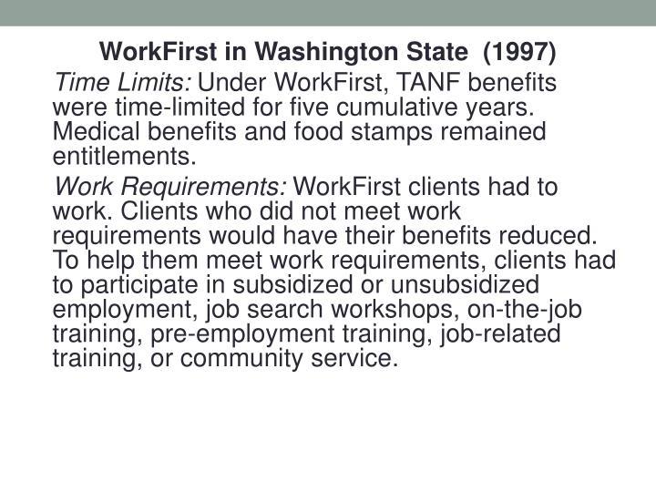 WorkFirst in Washington State  (1997)
