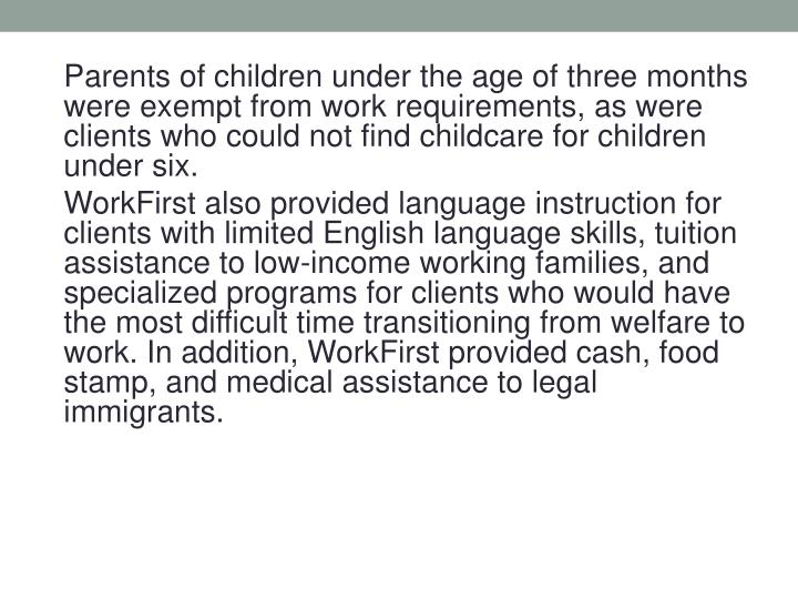Parents of children under the age of three months were exempt from work requirements, as were clients who could not find childcare for children under six.