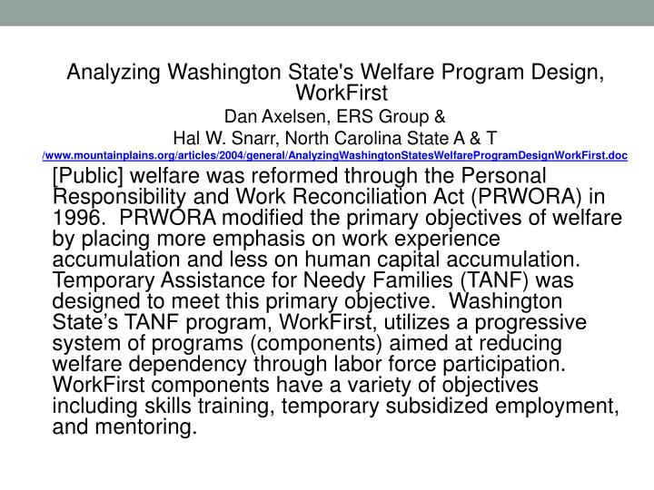 Analyzing Washington State's Welfare Program Design, WorkFirst