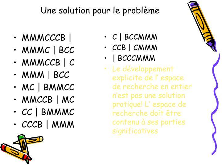 Une solution pour le problème