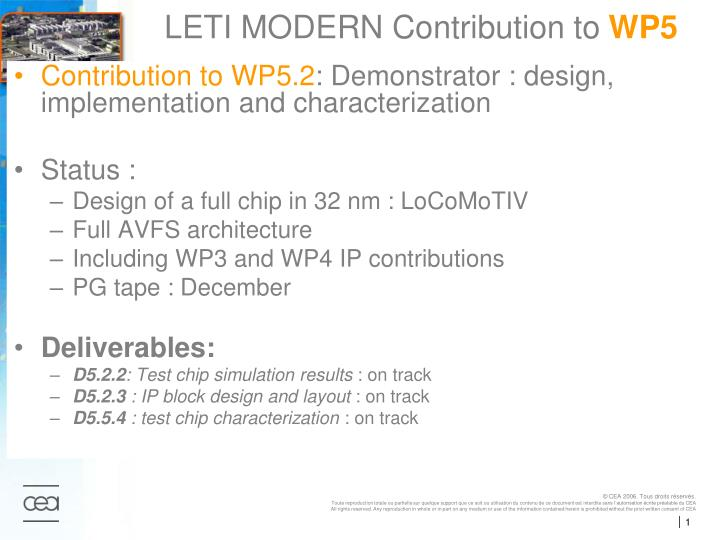 leti modern contribution to wp5 n.
