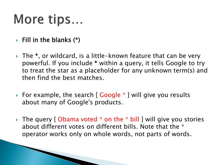 More tips…