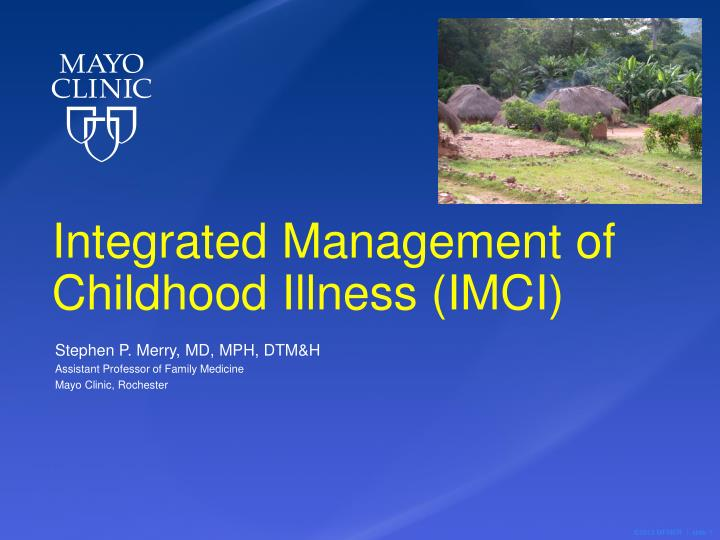 integrated management of childhood illness imci n.