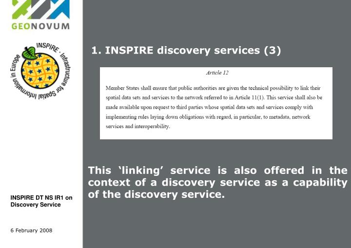 1. INSPIRE discovery services (3)