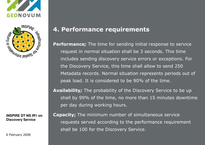4. Performance requirements