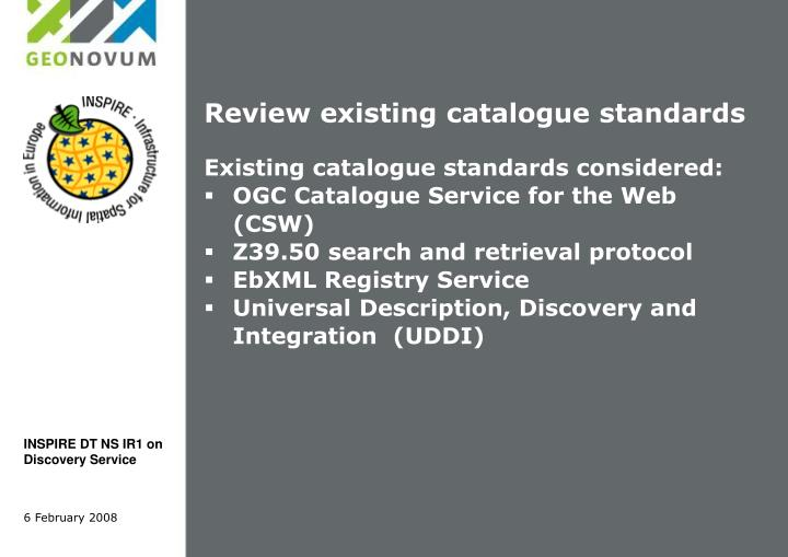 Review existing catalogue standards