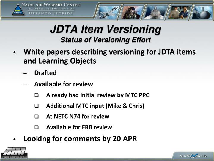 Jdta item versioning status of versioning effort