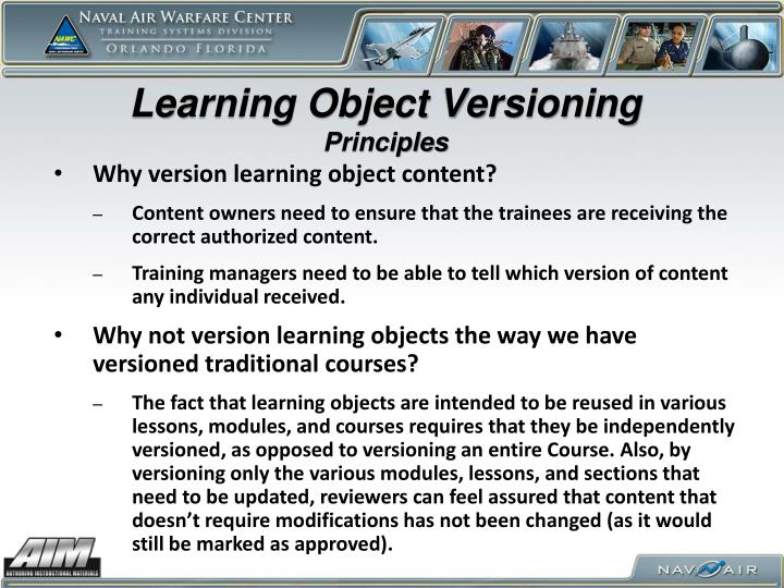 Learning Object Versioning