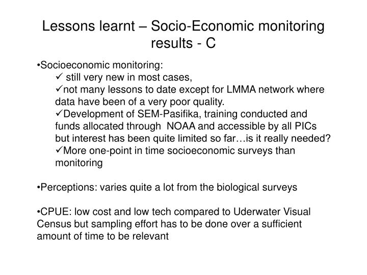 Lessons learnt – Socio-Economic monitoring results - C