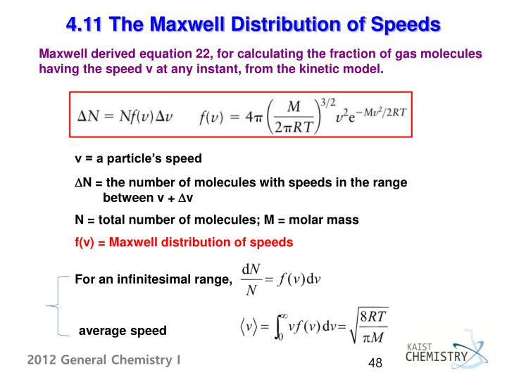 4.11 The Maxwell Distribution of Speeds