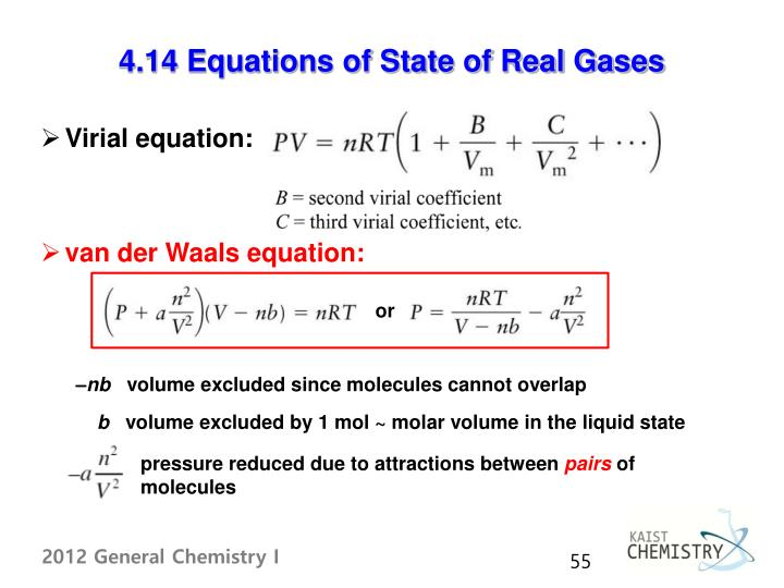4.14 Equations of State of Real Gases