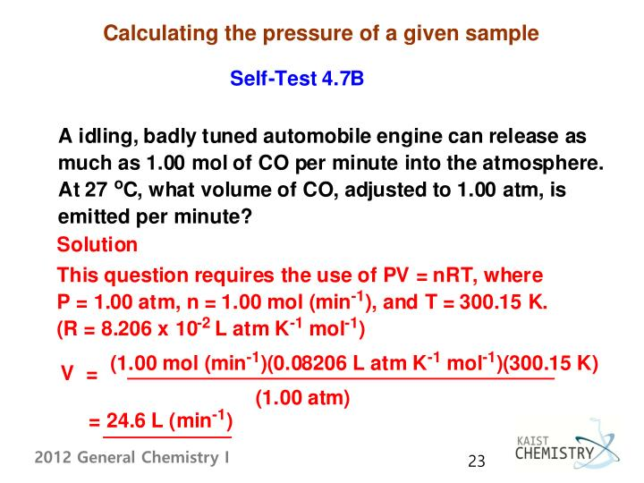 Calculating the pressure of a given sample