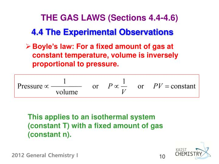 THE GAS LAWS (Sections 4.4-4.6)