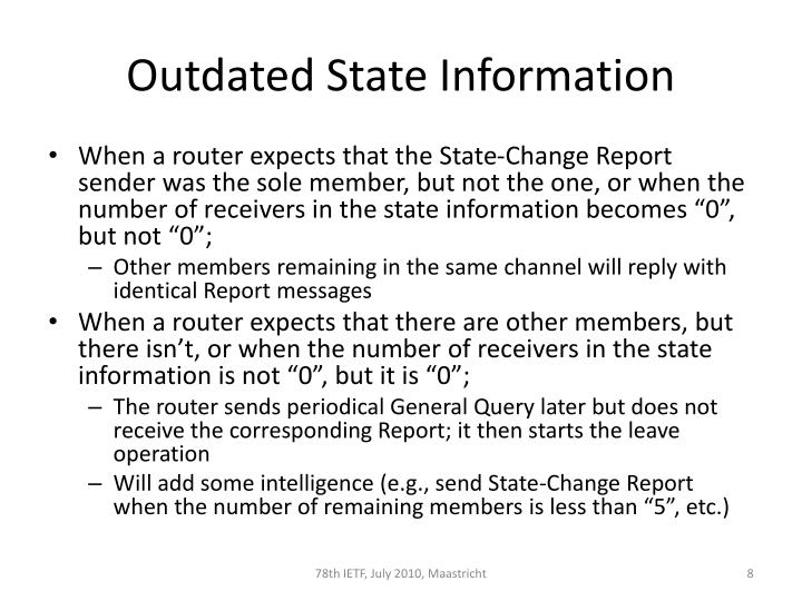 Outdated State Information