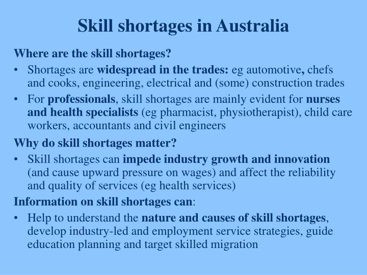 Skill shortages in Australia