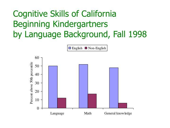 Cognitive Skills of California Beginning Kindergartners