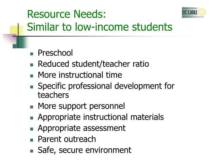 Resource Needs: