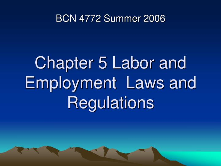 chapter 5 labor and employment laws and regulations n.