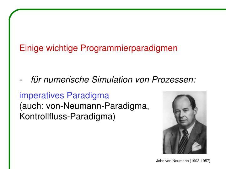 Einige wichtige Programmierparadigmen