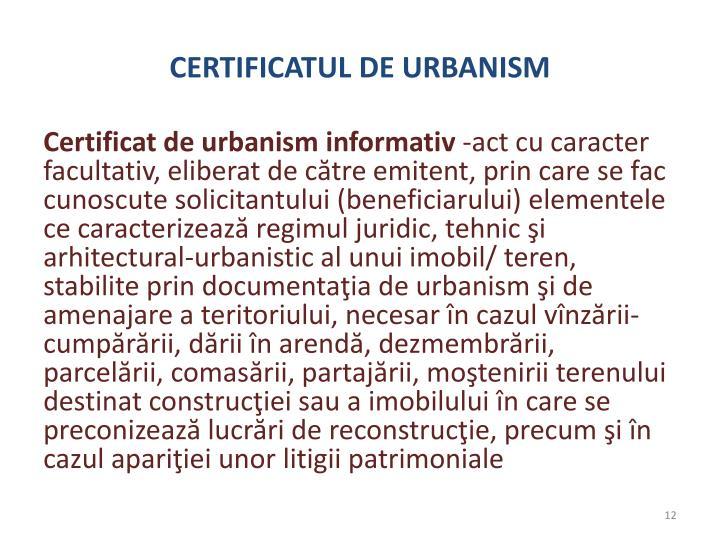 CERTIFICATUL DE URBANISM