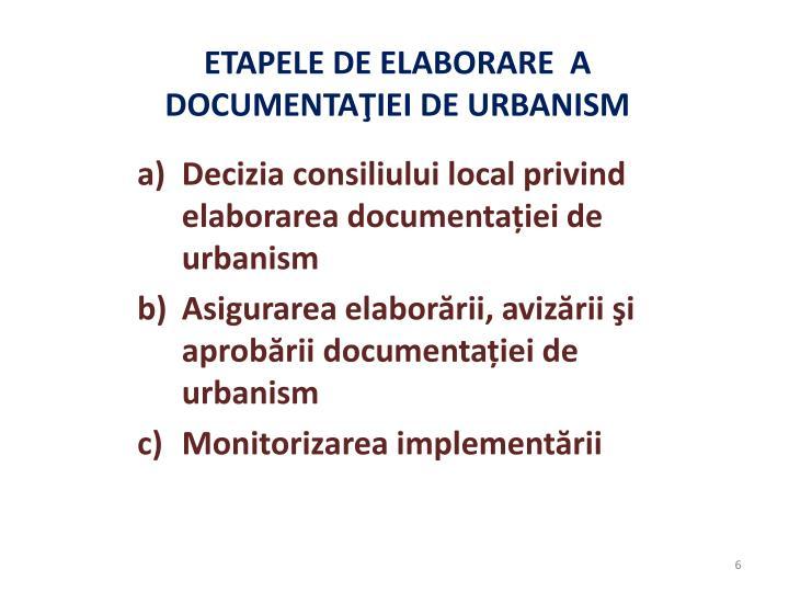 Decizia consiliului local privind elaborarea documentației de urbanism