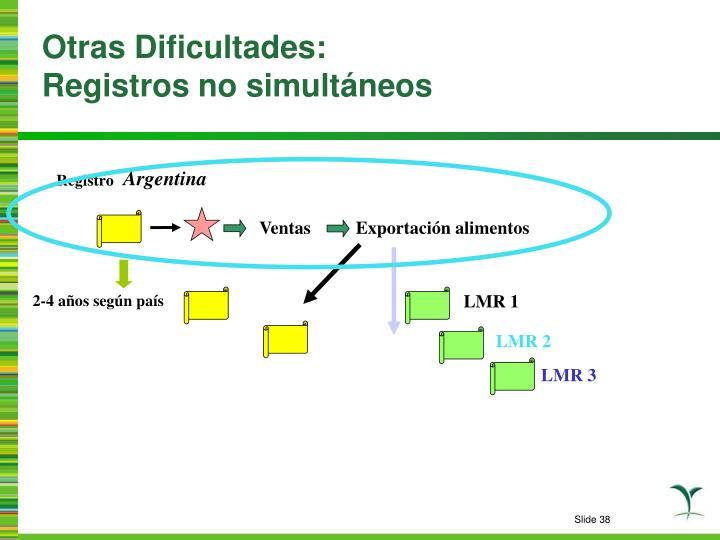 Otras Dificultades: