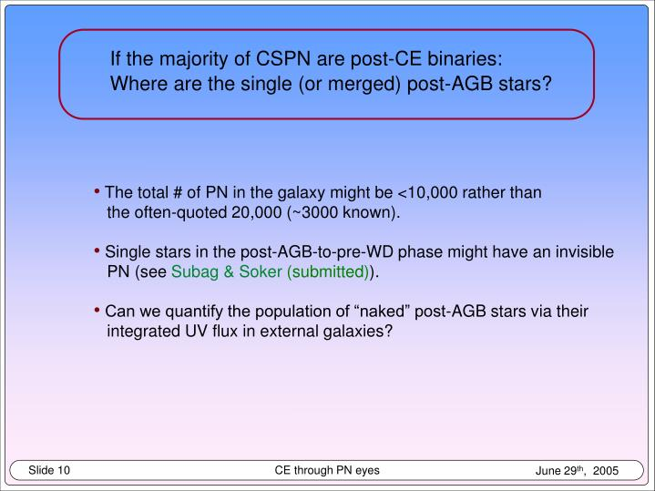 If the majority of CSPN are post-CE binaries: