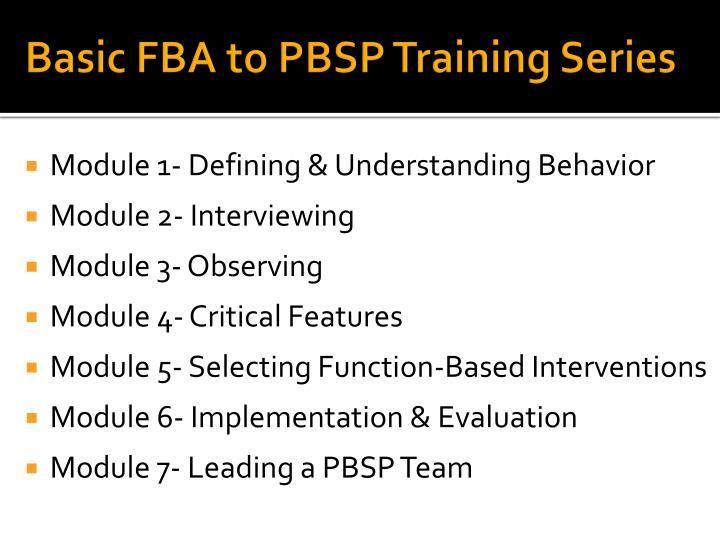 Basic FBA to PBSP Training Series