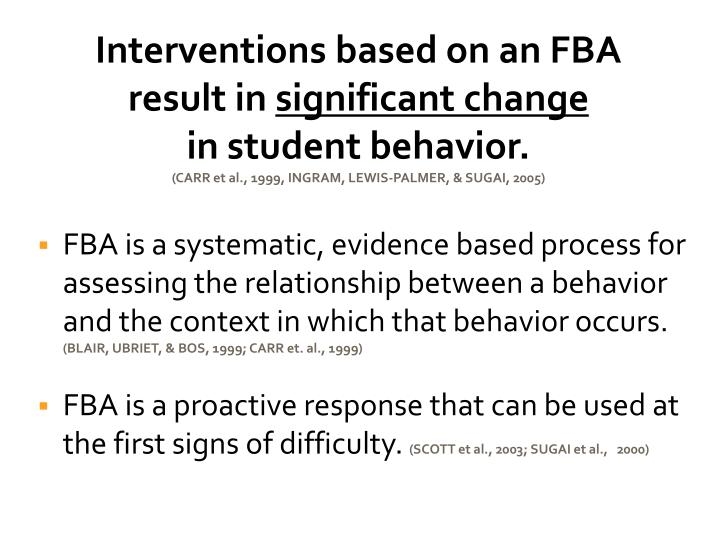 Interventions based on an FBA