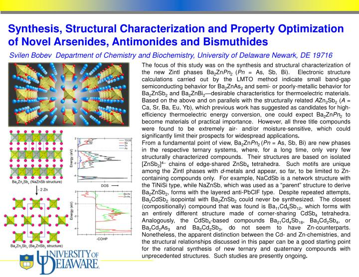 Synthesis, Structural Characterization and Property Optimization of Novel Arsenides, Antimonides and...
