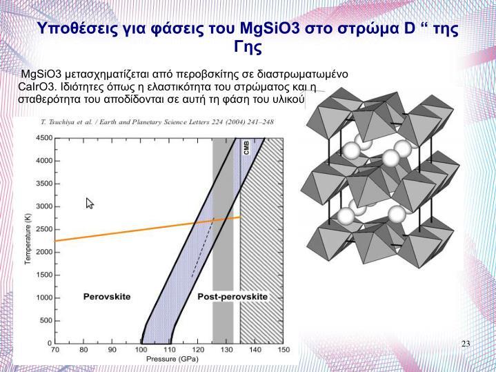 "Yποθέσεις για φάσεις του MgSiO3 στο στρώμα D "" της Γης"