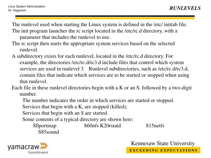 The runlevel used when starting the Linux system is defined in the /etc/ inittab file.