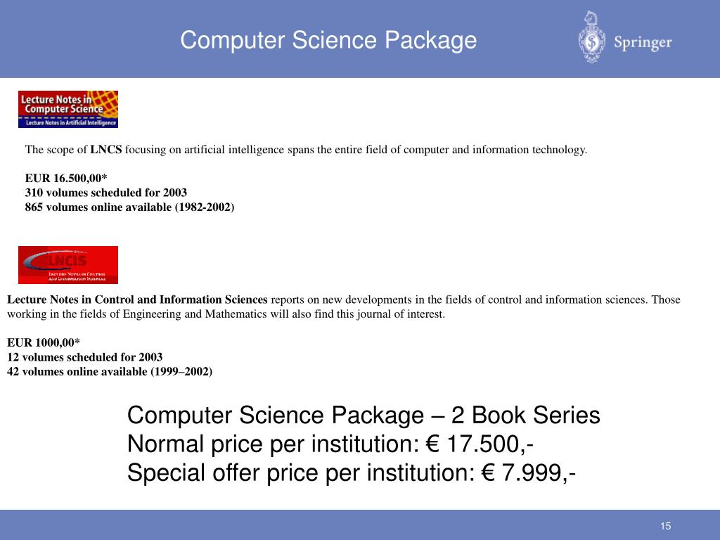 PPT - Lecture Notes goes Online: E-Book Series from Springer