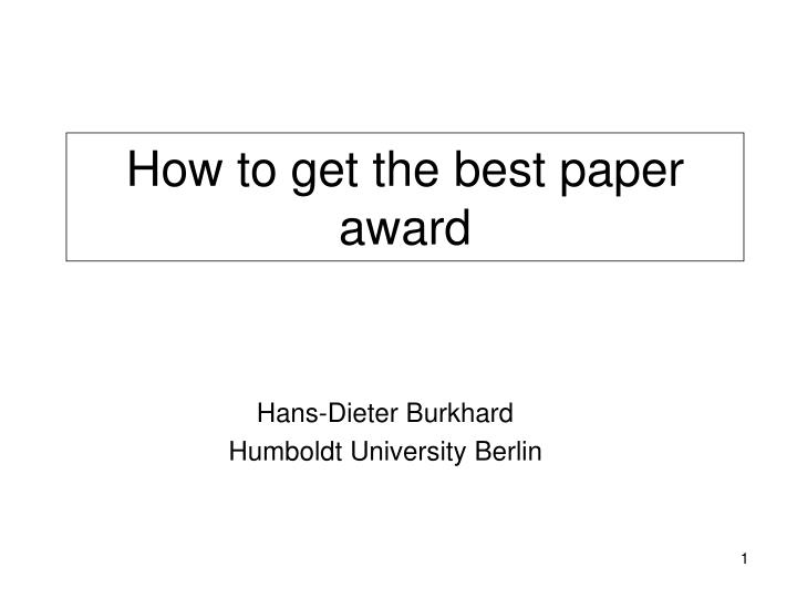 how to get the best paper award n.