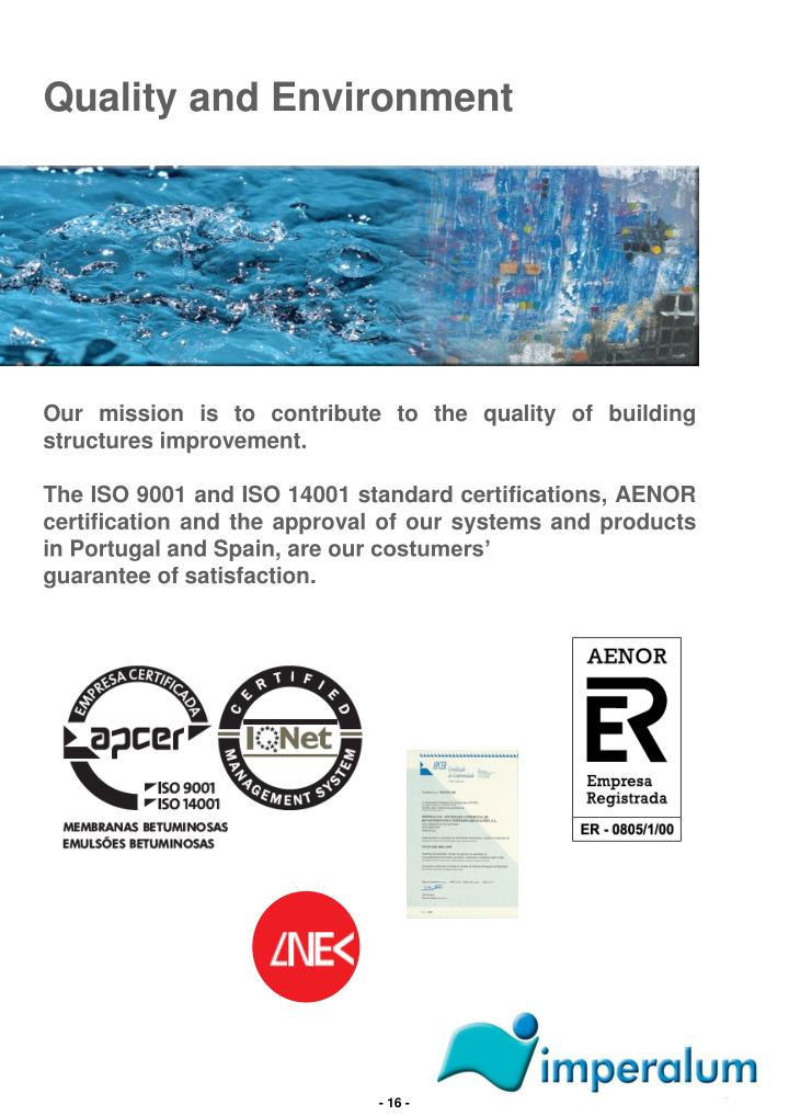 Quality and Environment