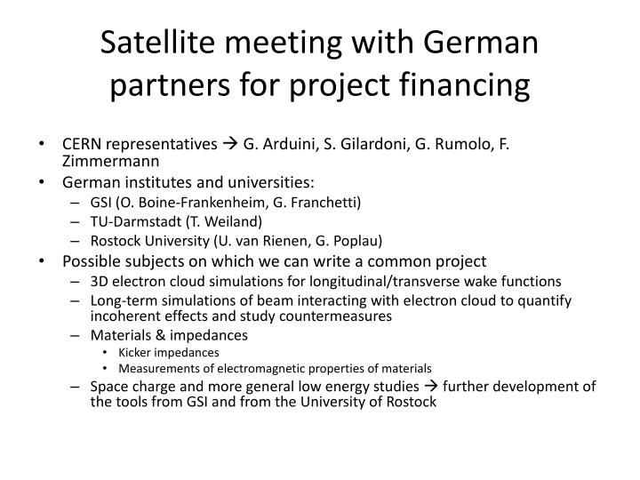 Satellite meeting with German partners for project financing