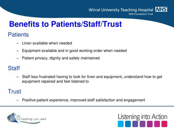 Benefits to Patients/Staff/Trust