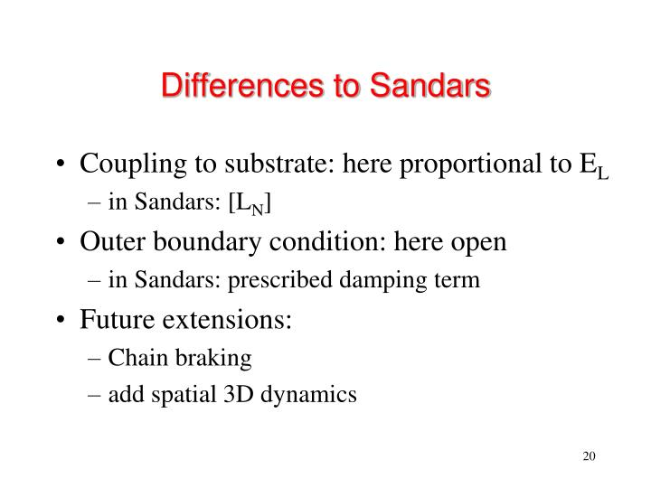 Differences to Sandars