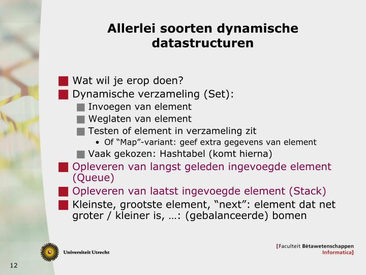 Allerlei soorten dynamische datastructuren