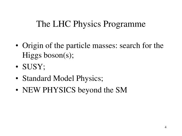The LHC Physics Programme