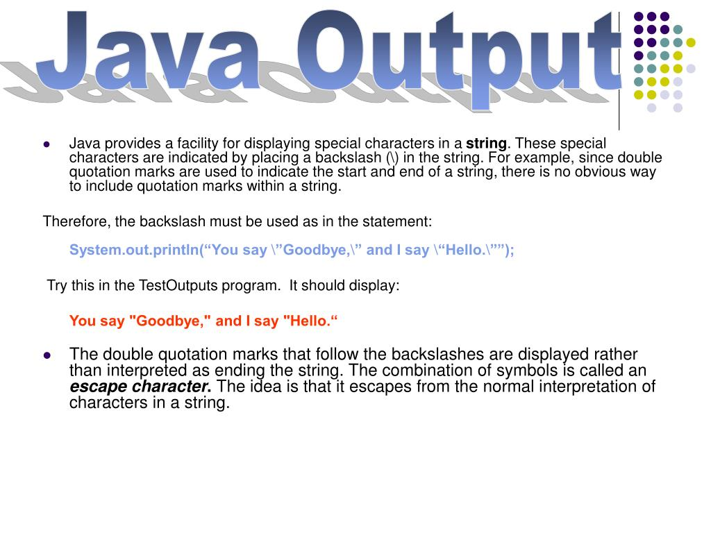 PPT - Java Output and Data Types PowerPoint Presentation