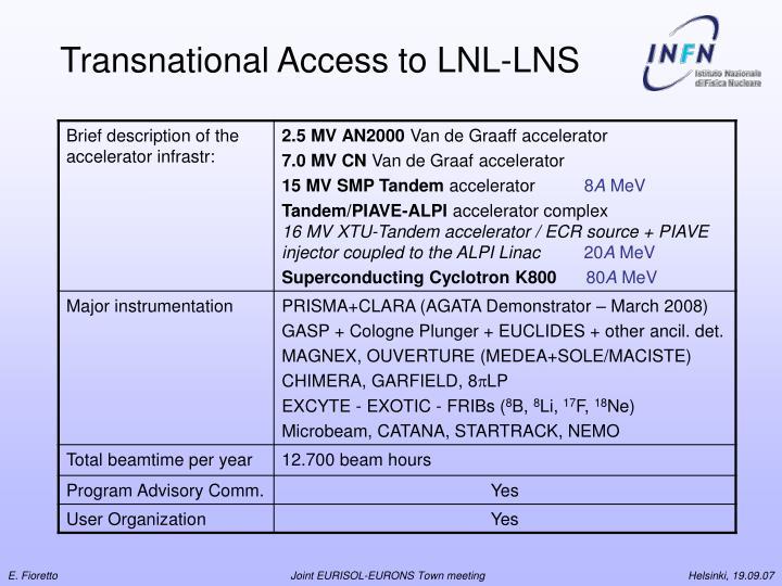 Transnational Access to LNL-LNS