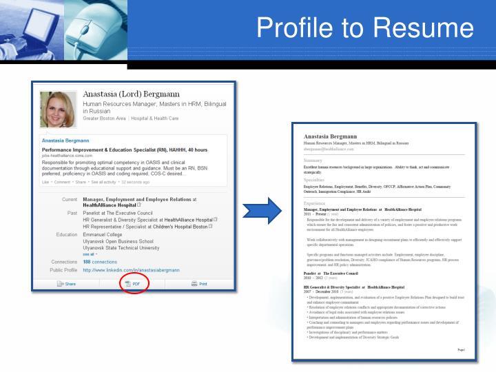 Profile to Resume