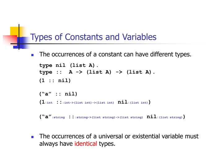 Types of Constants and Variables