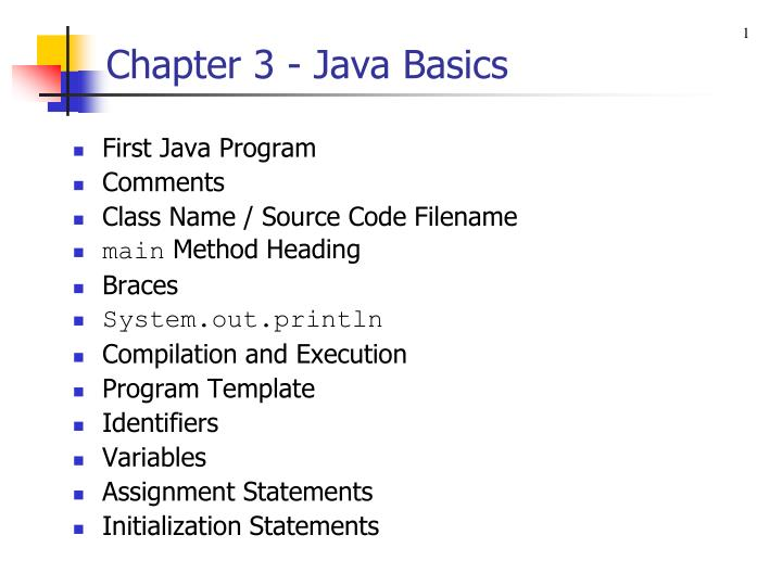 Ppt chapter 3 java basics powerpoint presentation id4206394 1chapter toneelgroepblik Gallery