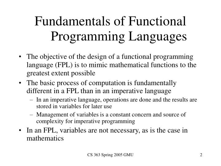 Fundamentals of functional programming languages