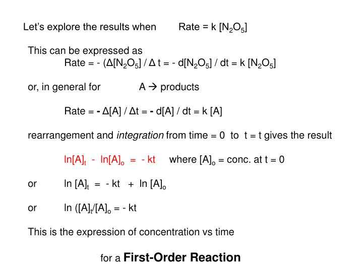 Let's explore the results when        Rate = k [N