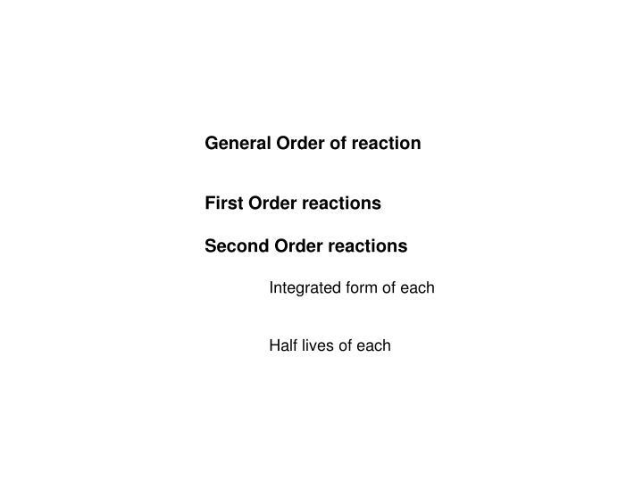 General Order of reaction