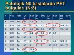 patolojik n0 hastalarda pet bulgular n 8